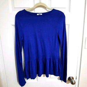 Royal blue long sleeve peplum top